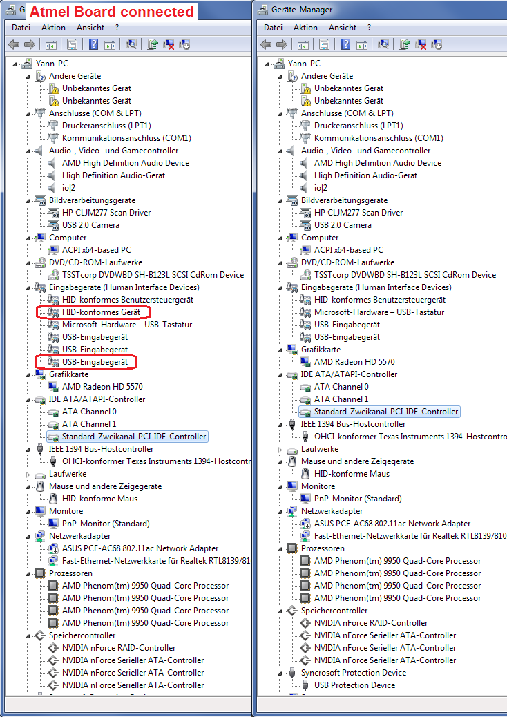 device manager difference with and without atmel board plugged in