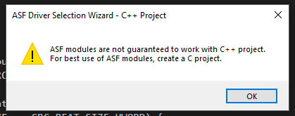 Atmel Studio's disclaimer that ASF modules are not guaranteed in C++.