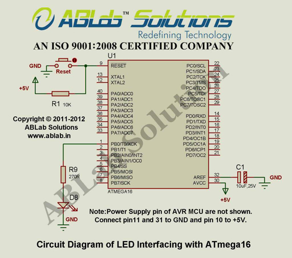 LED-Interfacing-with-AVR-ATmega16-Microcontroller-Circuit-Diagram-ABLab-Solutions