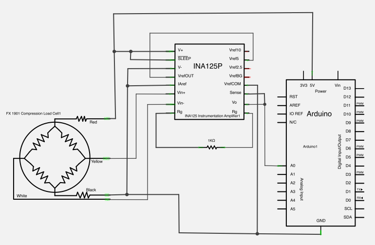load cell connection using ina 125p